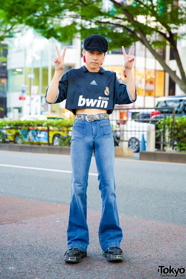 Japanese Street Style in Harajuku w/ Real Madrid Adidas BWIN Cropped Jersey, Flared Jeans, New Rock Buckle Shoes & Newsboy Cap