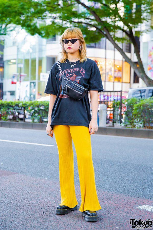 Harajuku Girl w/ Black Band T-Shirt, Yellow Flared Pants & Black Boots