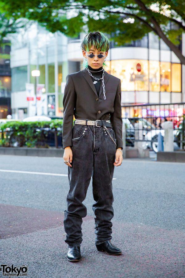 Green-Haired Harajuku Guy in All Black Vintage Streetwear