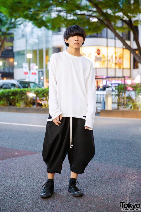 Harajuku Guy w/ Perverze White Top, Comme des Garcons Sarueru Pants & Converse Sneakers