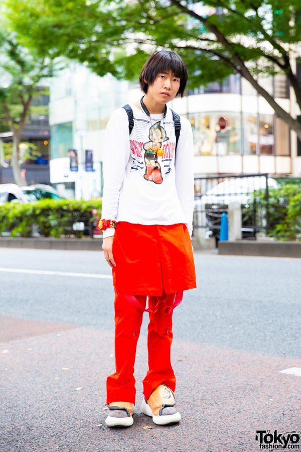 Red & White Harajuku Streetwear Style w/ Astro Boy Sweatshirt, Walter Van Beirendonck Strap Pants, Skirt Panel, Swear Velcro Sneakers & Robot Watch