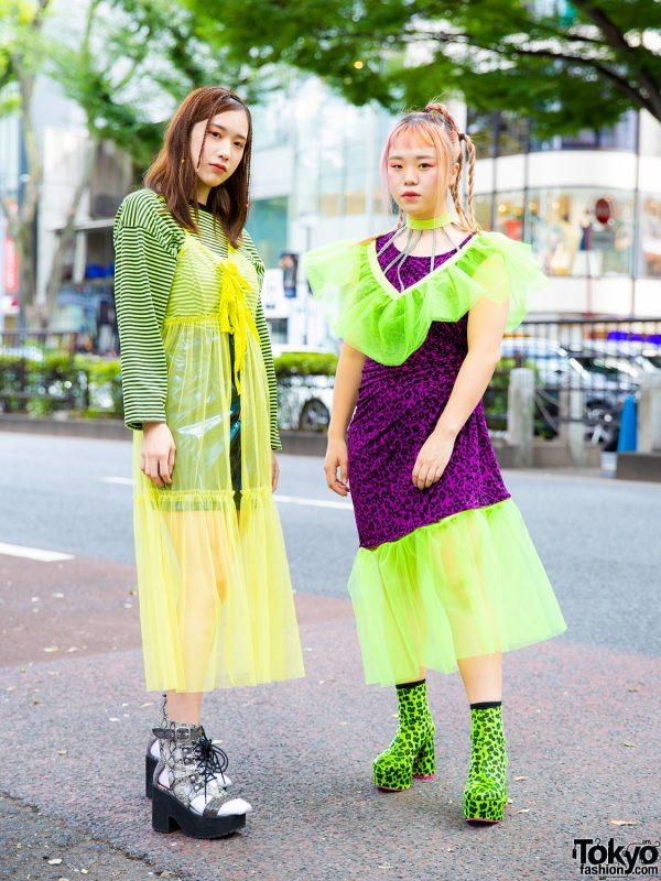 Leopard Print & Neon in Harajuku w/ Bubbles Patent Leather Skirt, Lingerie Dress, Leopard Print Dress, Detached Collar, Dolls Kill & Yosuke Cutout Boots