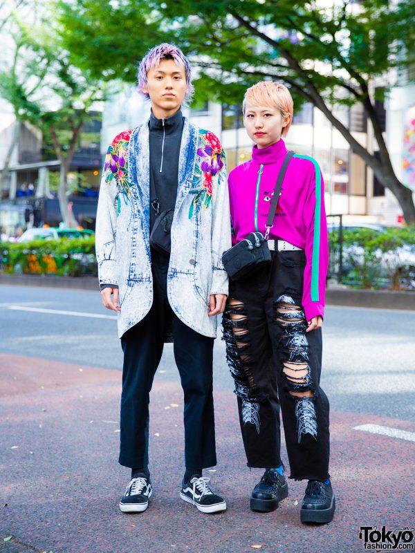 Stylish Harajuku Duo's Street Styles w/ Colorful Hair, Auralee, UNIQLO, Vans, Supreme, M.Y.O.B., Kobinai & Kipling