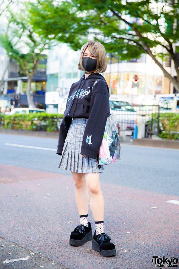 Black Hoodie & Plaid Skirt Tokyo Casual Street Style