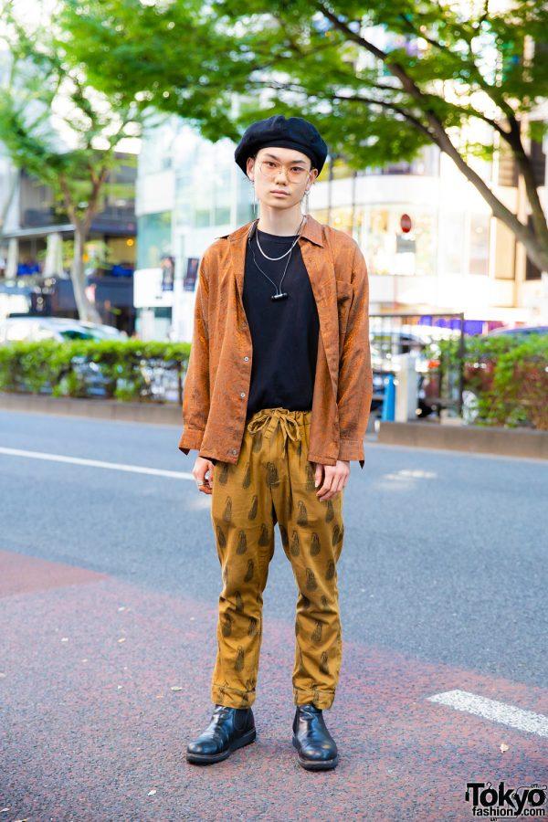 Tokyo Vintage Streetwear Style w/ Black Beret, Patterned Shirt, Printed Pants & Black Boots