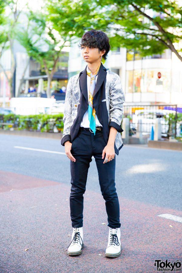 Harajuku Menswear Street Style w/ Vivienne Westwood, UNIQLO, Zara Skinny Pants, Dr. Martens Boots & MM6 Maison Margiela
