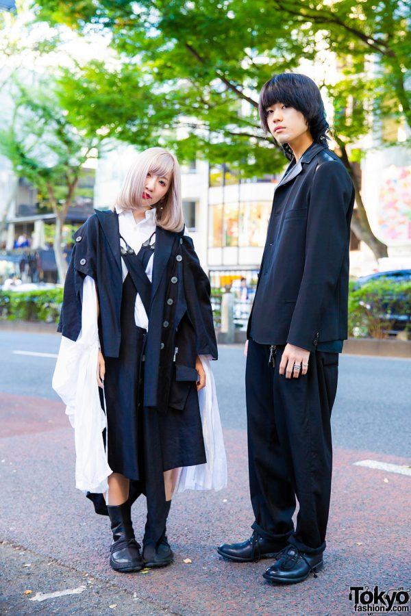 Yohji Yamamoto Monochrome Streetwear in Harajuku w/ Jumperskirt, Extra Long Sleeves, Yohji Yamamoto Pour Homme & Yohji Yamamoto x Cherevichkiotvichki Shoes