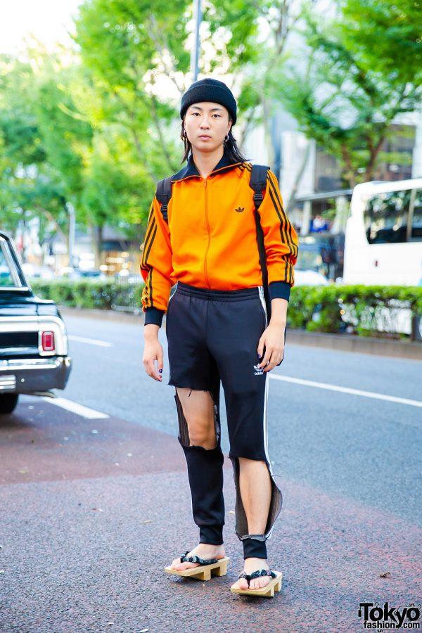 Tokyo Vintage & Handmade Streetwear w/ Orange Jacket, Black Track Pants & Geta Sandals