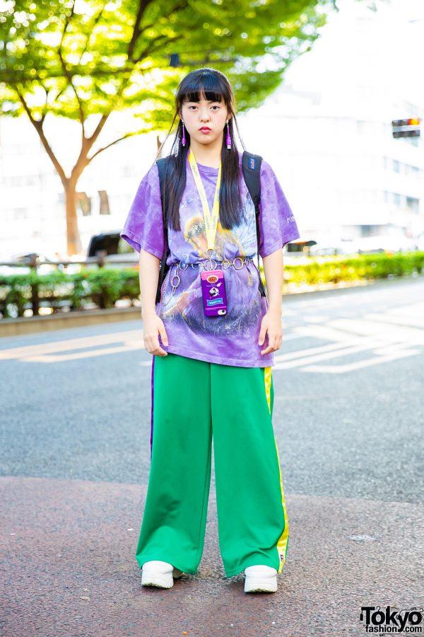 Harajuku Girl's Sporty Casual Street Style w/ RRR Vintage Tie Dye Shirt, RRR by Sugar Spot Factory, Yosuke, Oh Pearl, JanSport & RRR by Runa Mama USB Earrings