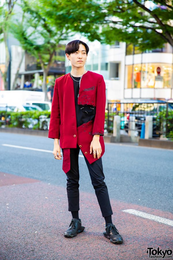Harajuku Menswear Street Style w/ Distressed Blazer, Black Pants & Black Sneakers