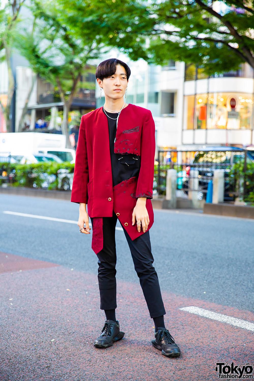 Harajuku Menswear Street Style w/ Distressed Blazer, Black
