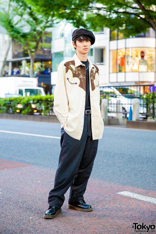 Harajuku Guy's Street Style w/ Cowboy Shirt, Back Number, Calvin Klein Pants, Dr. Martens Boots & Beret