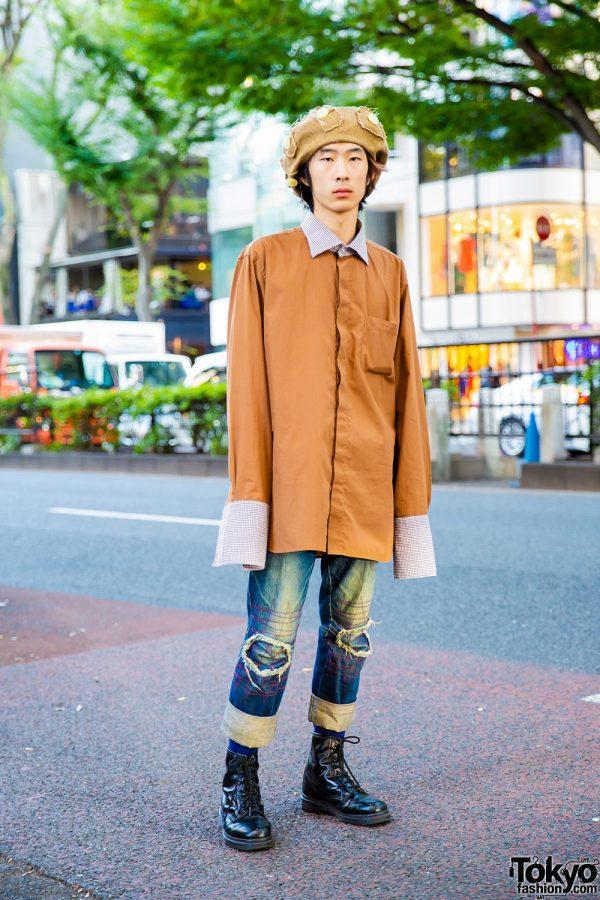Harajuku Guy w/ Extra Long Sleeve Shirt, Christopher Nemeth Patch Pants, Dr. Martens Boots & Newsboy Cap
