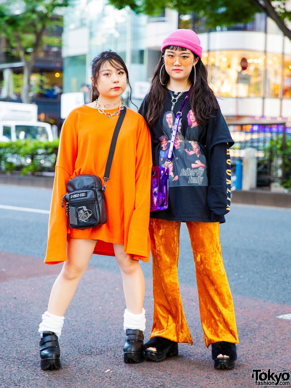 Orange Harajuku Street Styles w/ Barcode, Dolls Kill, Faith Tokyo, Warp, Nana-Nana, Chanel, Spinns & Pinnap