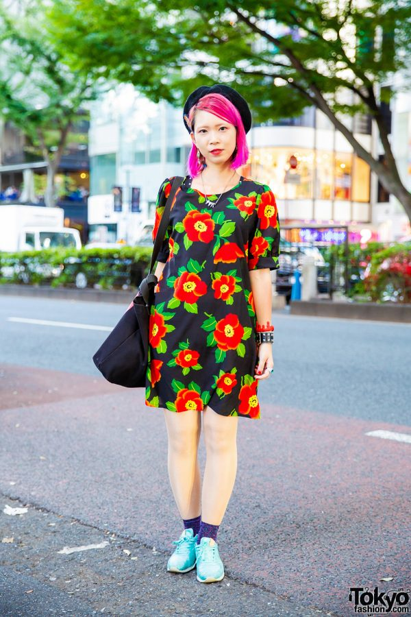 Pink-Haired Harajuku Girl w/ Moussy Floral Dress, New Balance Sneakers & Vivienne Westwood Bag