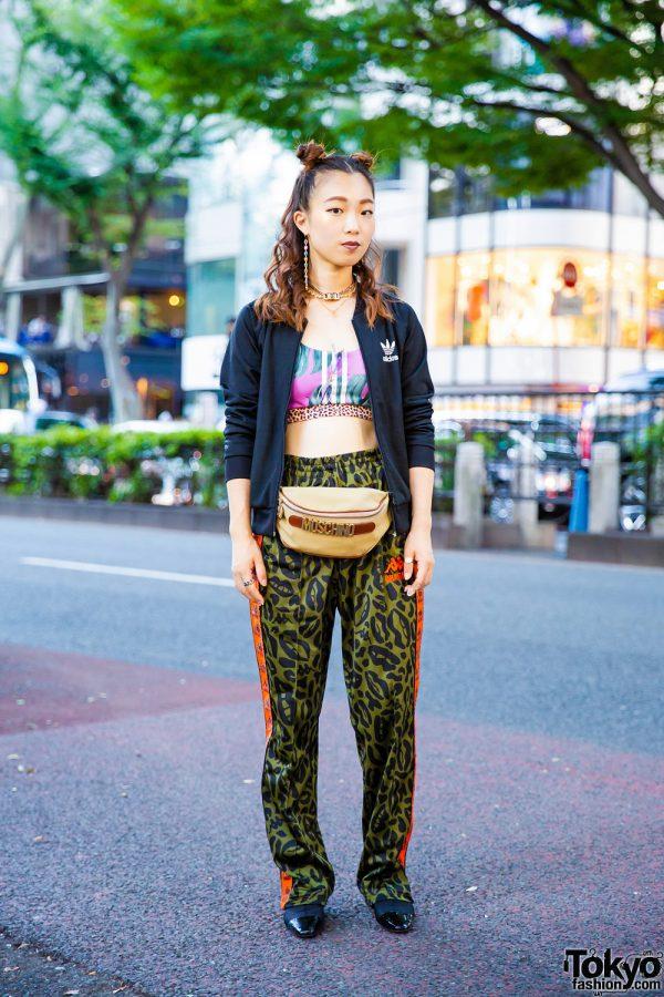 Sporty Chic Tokyo Street Style w/ Adidas, Kappa Lip Print Pants, Zara Pointy Boots, Moschino Waist Bag & VidaKush Jewelry