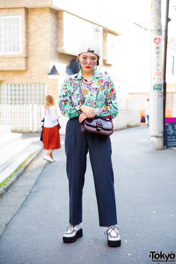 Tokyo Vintage Street Style w/ Printed Top, Pearl Necklace, Crocodile Leather Bag & Yosuke Creepers