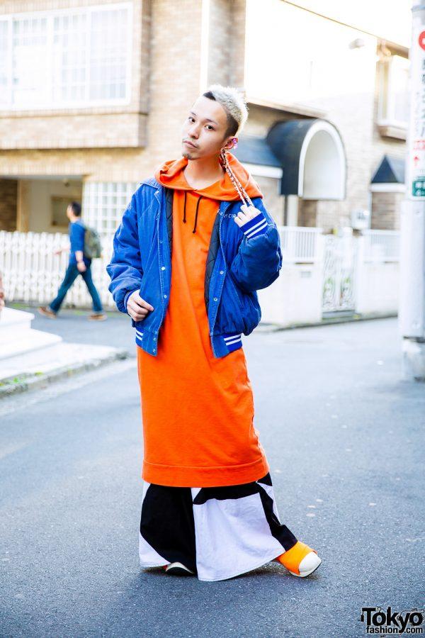 Vintage Blue Jacket & Long Orange Hoodie Streetwear Style w/ Heterophobia, Ikumi, Fessura & Anatometal