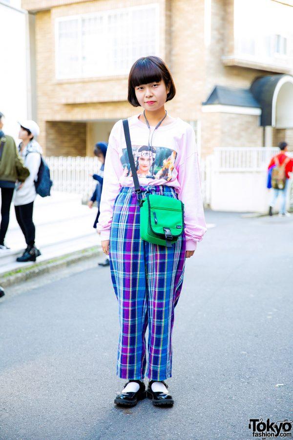 Harajuku Girl w/ Dub Sexy Pink Top, Kinji Plaid Pants, X-girl Bag & H&M Mary Jane Shoes