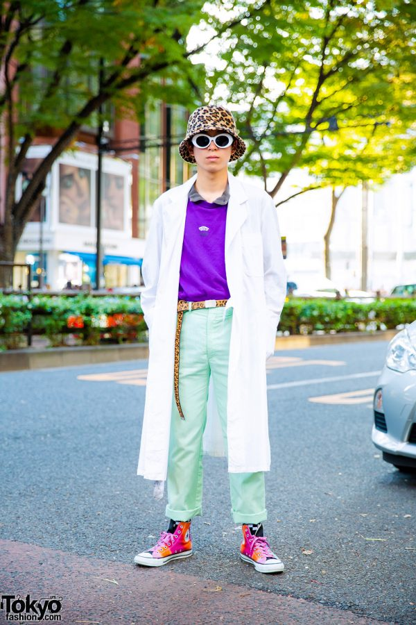 Harajuku Street Style w/ Leopard Print Hat, O.Well Kitakashigaya, Converse & Gucci