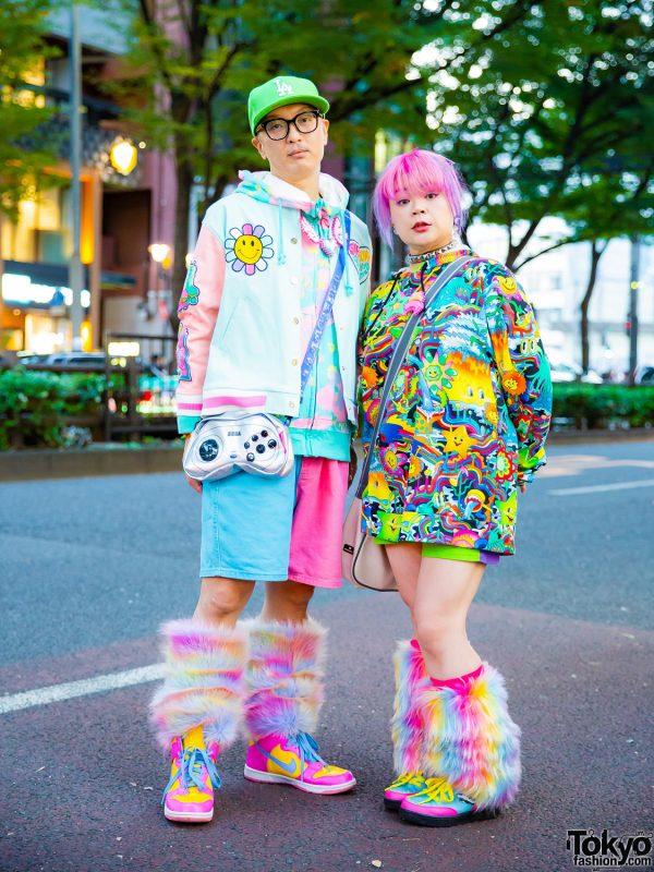 Kawaii Couple Harajuku Street Style w/ Galaxxxy, 6%DOKIDOKI Furry Leg Warmers, Pinnap Tokyo, Perler Beads, GameBoy & SEGA Bags