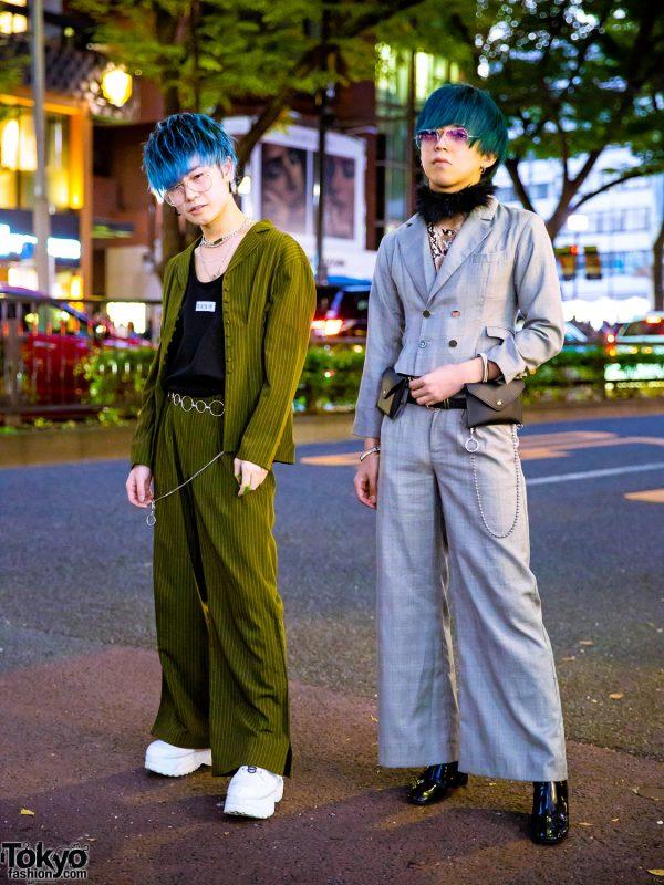 Harajuku Guys in Kawi Jamele Suits, Blue & Teal Hair, ESC Studio, Bershka, H&M, Yosuke, Oh Pearl & 3 Coins