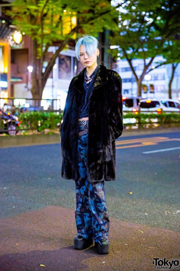 Edgy Tokyo Street Style w/ Blue Pixie Hair, Faux Fur Coat, Harley Davidson Crop Top, Vivienne Westwood & Ego