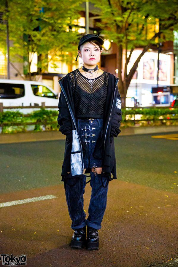 Dark Harajuku Streetwear Style w/ MSBHV Distressed Jacket, Cropped Mesh Top, MYOB Cutout Pants, Platform Shoes & Silver Jewelry