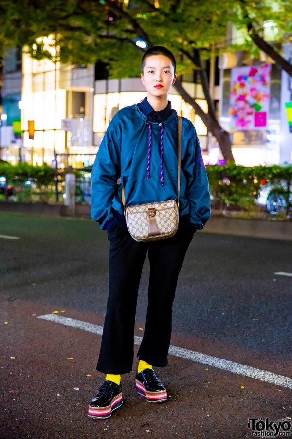 Japanese Model in Harajuku w/ Shaved Head, Vintage Collared Shirt, Flared Pants, Zara Platform Shoes & Gucci Logo Print Bag