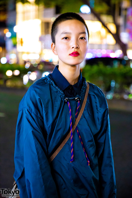 Japanese Model In Harajuku W Shaved Head Vintage