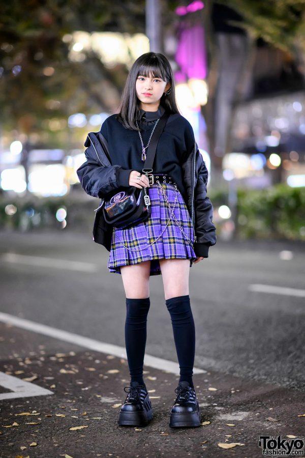 Harajuku Girl in Platforms & Purple Plaid Skirt w/ Never Mind The XU, DYOG & Demonia
