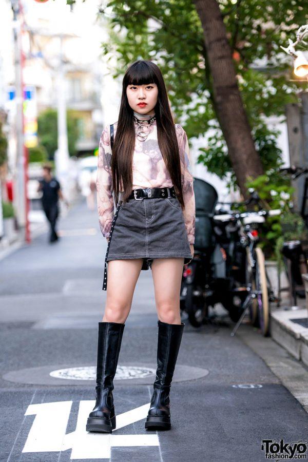 Casual Edgy Harajuku Streetwear w/ Cherub Print Turtleneck, Vintage Denim, Courreges Backpack & Demonia Knee Boots