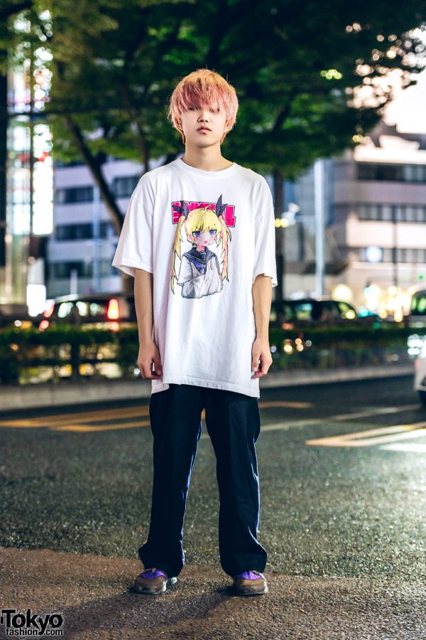 Pink-Haired Harajuku Guy in Anime T-Shirt, Y's Pants & Nike Air Huarache Colorblock Sneakers