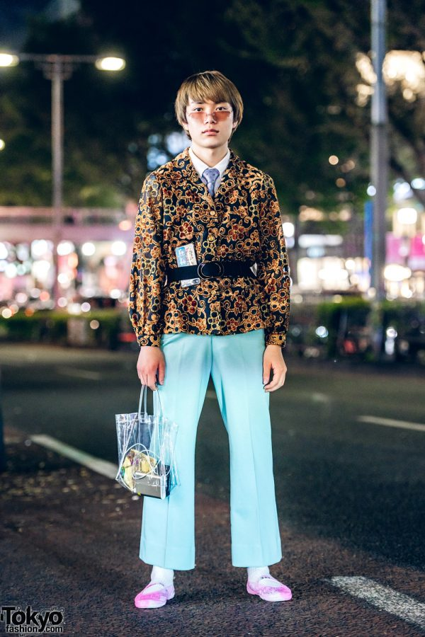 Retro Vintage Menswear Style in Harajuku w/ Brocade Blazer, Aqua Pants, School Shoes & Clear Tote Bag
