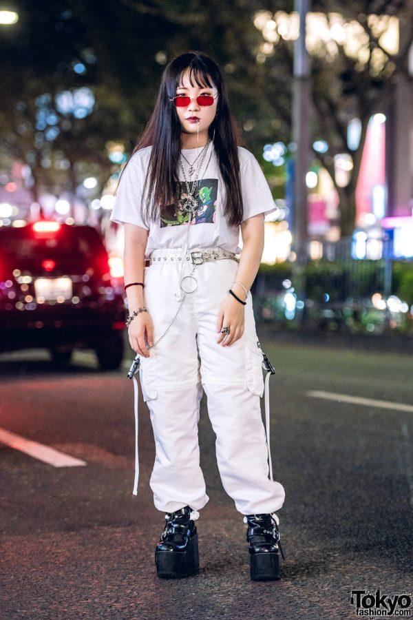 Tokyo Punk Streetwear Style w/ Dragon Ball Z T-Shirt, Faith Tokyo Parachute Pants, Bubbles Ankle-Strap Platforms & ME Harajuku Accessories