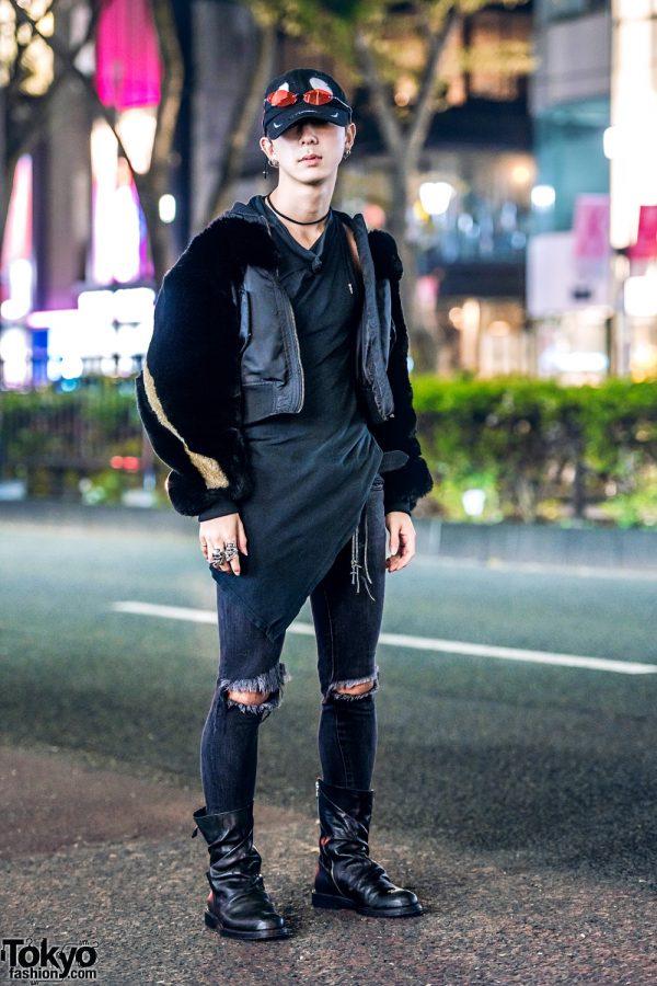 All Black Tokyo Streetwear w/ Molli Olli Fur Jacket, Comme des Garcons, Mihara Yasuhiro Boots, 99%IS-, Chrome Hearts & Tokyo Human Experiments