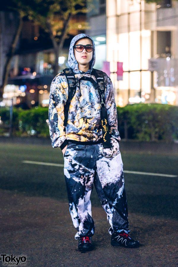 All Over Graphic Print Japanese Streetwear Style w/ Cordyceps Hoodie & Pants, Salomon Speedcross Sneakers, Ribeyron & Venom Backpack
