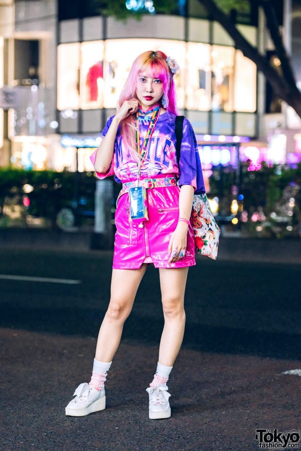 Fashion Designer's Kawaii Street Style w/ Ombre Hair, Vintage Tie Dye Shirt, 80s90s00s Patent Leather Skirt, Cutout Bow Shoes, & Colorful Accessories