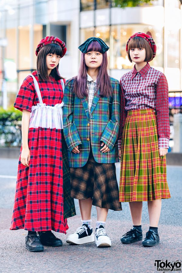 Plaid Harajuku Streetwear Styles w/ Bershka Berets, Jouetie, Burberry, Asymmetrical Skirt & Tokyo Bopper