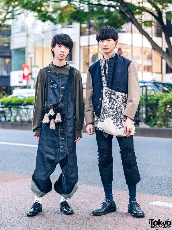 Christopher Nemeth Tokyo Streetwear Styles w/ Rope Print Bag, Denim Overalls, Collarless Jacket, Badges & Furry Tassel Bag