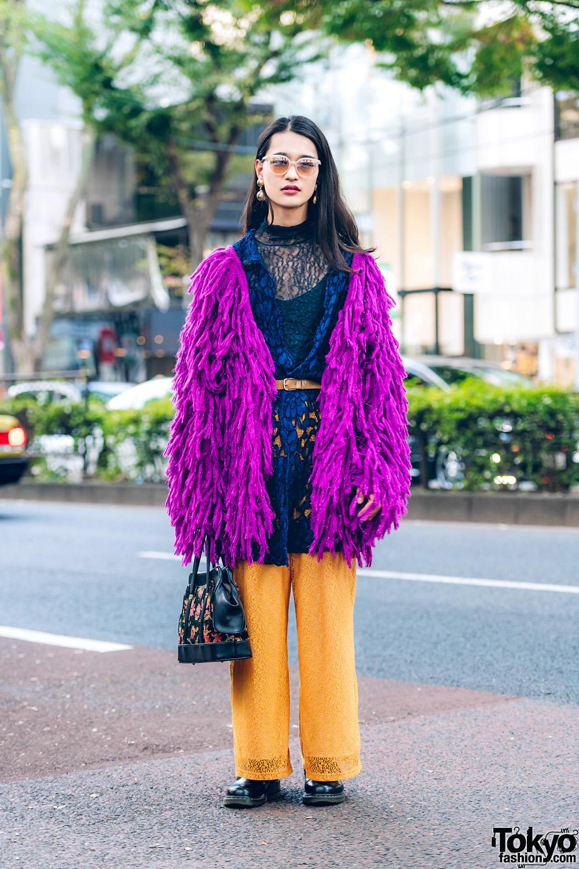 Harajuku Street Style w/ Jouetie Fuzzy Purple Cardigan & GVGV Pants, Dr. Martens & Vintage Fashion