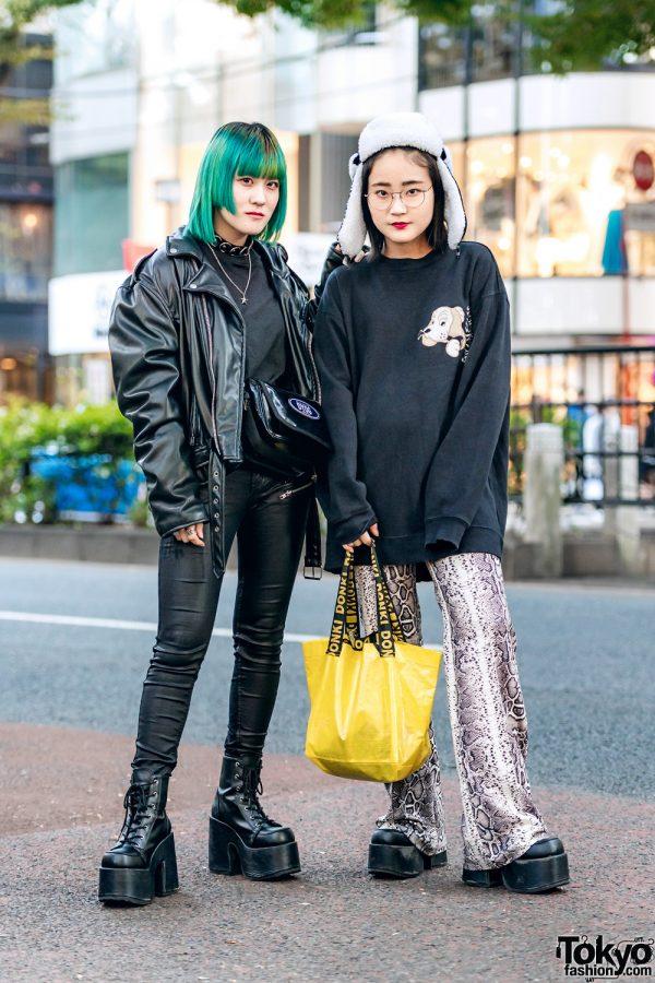 Harajuku Girls w/ Green Hair, Faith Tokyo Leather Jacket, Galfy Sweater, Bershka Snakeskin Pants, Never Mind the XU, Don Quixote, Vivienne Westwood & Demonia Platforms