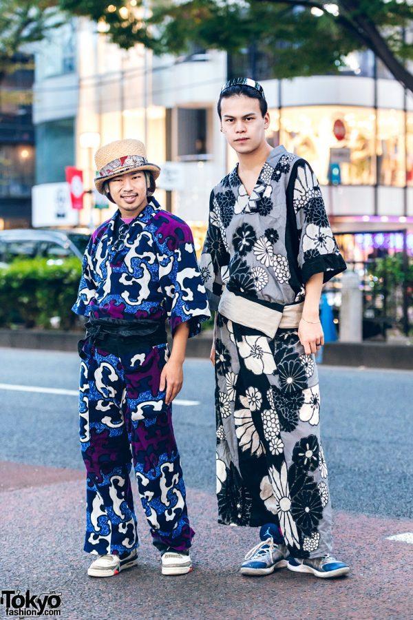 Japanese Dancers in Printed Kimono Streetwear Styles w/ Sou Sou Graphic Print & Floral Print Kimono Sets, Nike Sneakers, Straw Hat & Jewelry