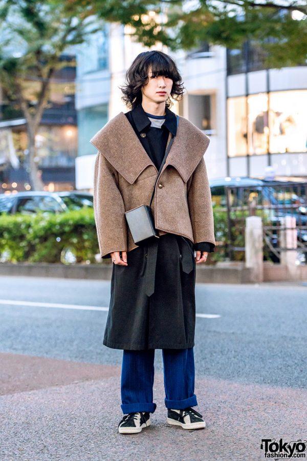 Tokyo Menswear Street Style w/ Max Mara Jacket, Black Coat & Blue Striped Pants