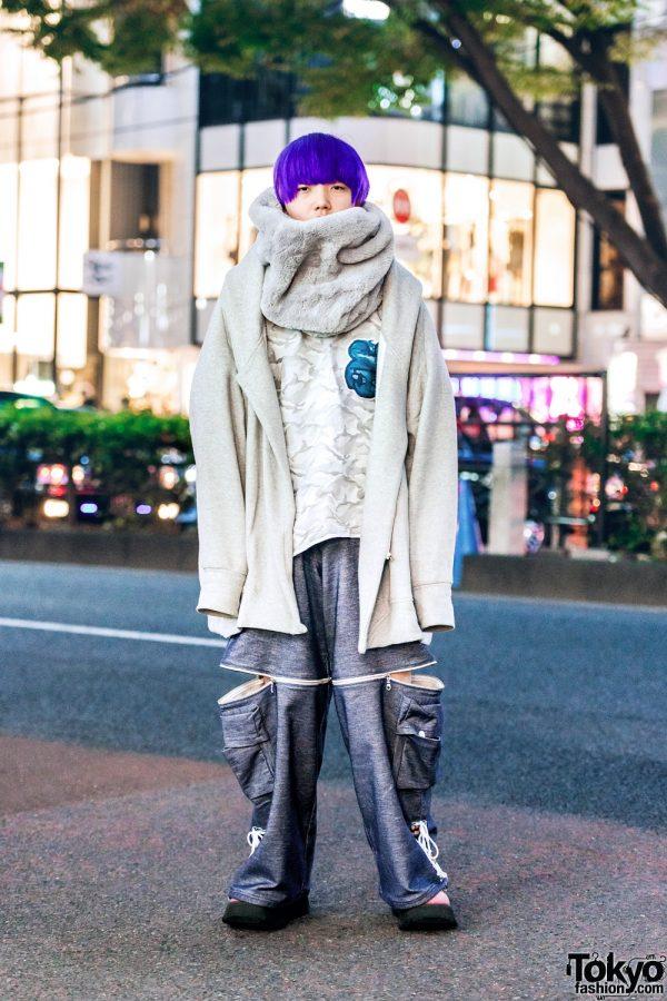 Oversized Harajuku Style w/ Purple Hair, Balmung Hoodie Jacket, Niimi Zipper Pants, Suede Platforms & Fur Muffler