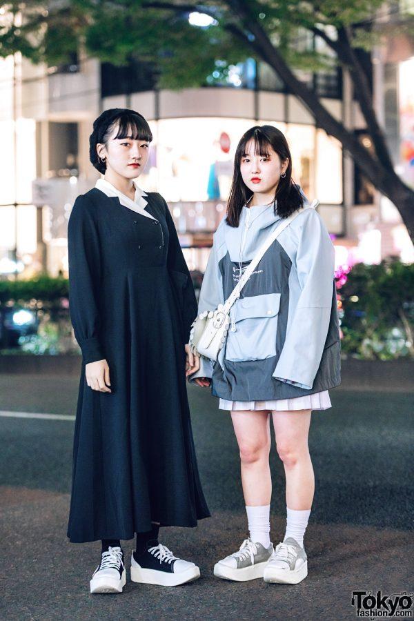 Harajuku Girls Streetwear Styles w/ Jouetie Dress, Chloma Jacket, Pleated Skirt, Tokyo Bopper Sneakers & Bag
