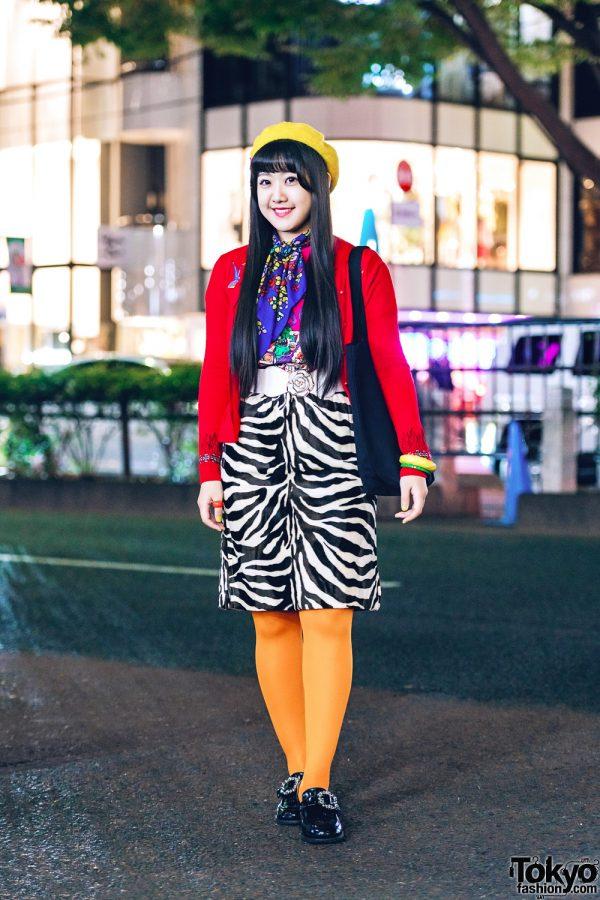 Harajuku Girl w/ Zebra Print Skirt, Orange Tights, Red Jacket, Yellow Beret, Aymmy In The Batty Girls Bag & WEGO Shoes