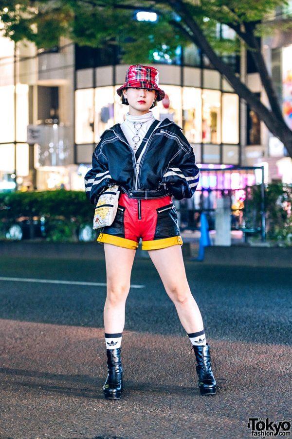 Sporty Chic Tokyo Street Fashion w/ Dolls Kill Shorts, Vintage Crossbody Bag, Plaid Hat & Yosuke Boots