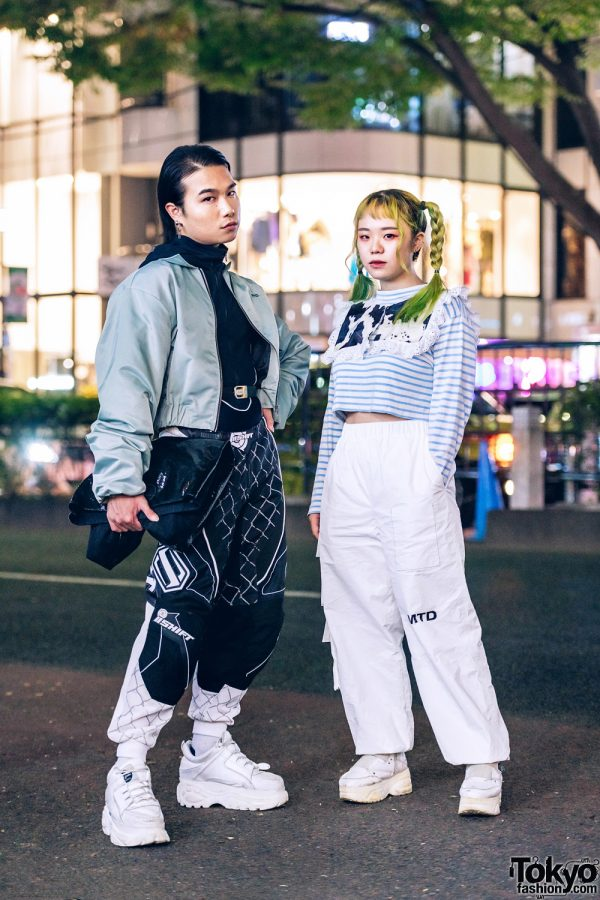 Harajuku Duo Streetwear Style w/ Twin Yellow Braids, More Than Dope, Namilia, Pinnap, Buffalo, Junya Watanabe, Thrift Tokyo, Yosuke & Handmade Collar