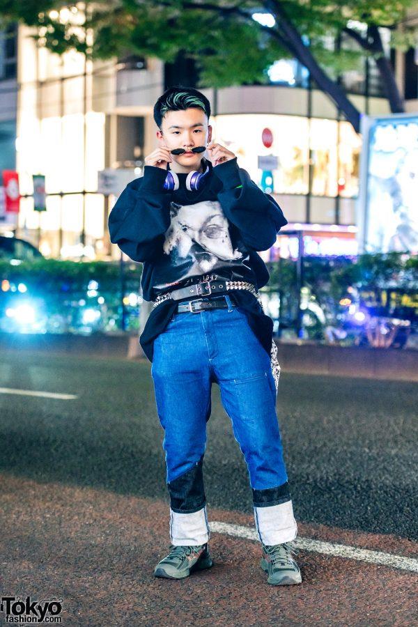 Harajuku Vintage Streetwear w/ Two Belts, Kiko Kostadinov x Asics Sneakers, Y/Project Sweater & Kudos Jeans